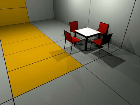 Rendered room with one cafe table photo