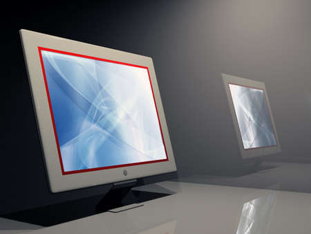 coherent: Lcd monitor with red border screen and abstract wallpaper.