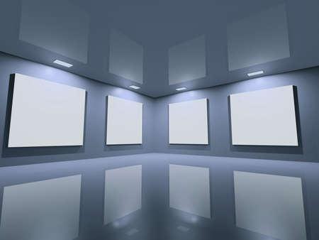 an exposition: Esposizione virtuale - riflettente spazio neutro