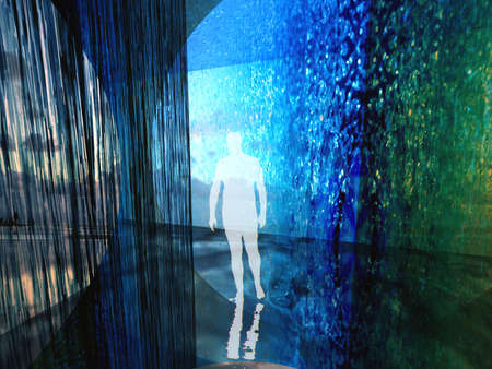 planar: Human silhouette in digital interior buildt out of water textures Stock Photo