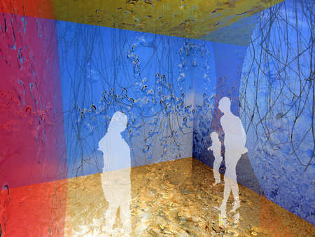 Human silhouettes in digital interior buildt out of colorful ice textures Stock Photo - 456062