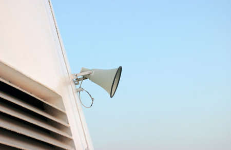 annoucement: Side view of ships megaphone on clear sky background Stock Photo