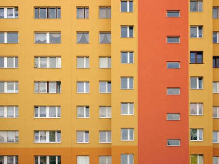 residencial: Modular elevation, intensive orange colors. Stock Photo