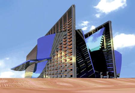 Arquitectura futurista.  Foto de archivo - 455586