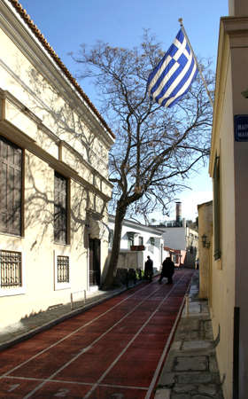 transformed: Athens old town - Plaka, the street transformed into race track for the purpose of 2004 sports competition Games.
