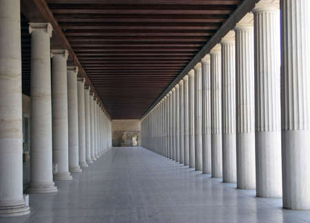 civilisation: Ancient greek stoa reconstruction - column arcade. Stock Photo