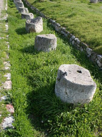 archeological site: Column base array in an archeological site. Stock Photo