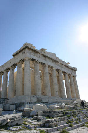 polis: Parthenon temple in Acropolis, Athens. Stock Photo