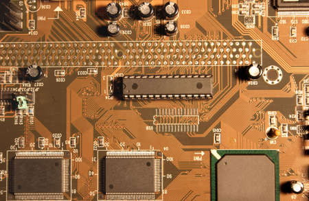 mainboard: Mainboard aerial view. Stock Photo