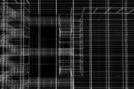 perspectiva lineal: De arquitectura de malla de alambre.
