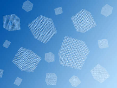 engeneering: 3d wire cubes background Stock Photo