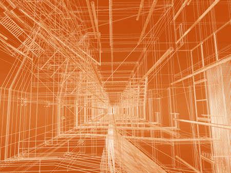 perspectiva lineal: Moderno edificio de la geometr�a de malla de alambre  Foto de archivo