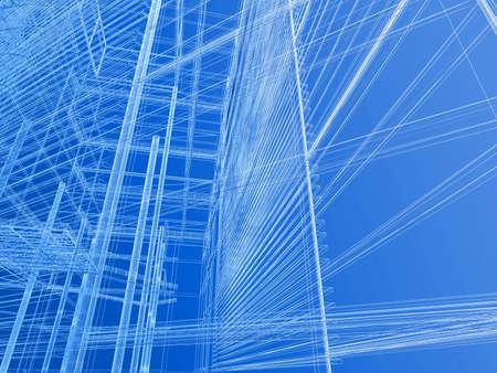 perspectiva lineal: Acoplamiento de alambre moderno de la geometr�a del edificio Foto de archivo