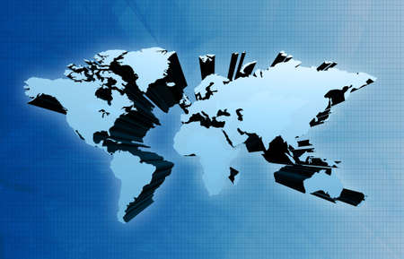 extruded: Extruded 3d global world map Stock Photo