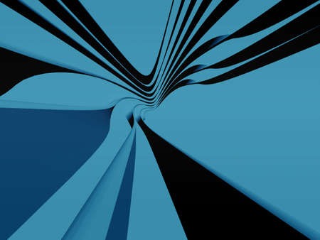modernity: Curved strips in perspective in blue tonation. Digitally generated Stock Photo
