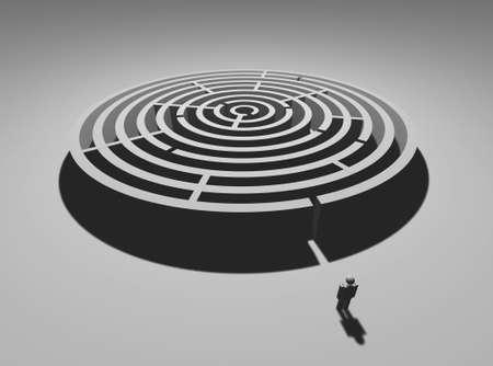 difficult mission: Single man at circular labyrinth entrance