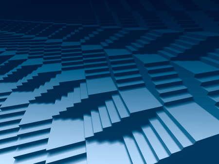 perspectiva lineal: Fondo azul marino de las escaleras infinitas 3d