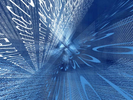 encoding: Transparent digital blue space made of prime numbers