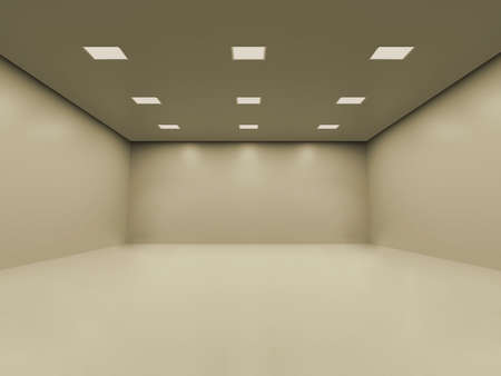 Warm white empty room with smooth homogeneous ceiling lighting. You can place your objects inside Stock Photo - 617634
