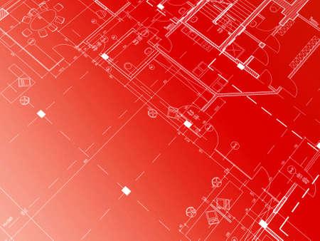 perspectiva lineal: Documentaci�n t�cnica CAD de arquitectura de antecedentes  Foto de archivo