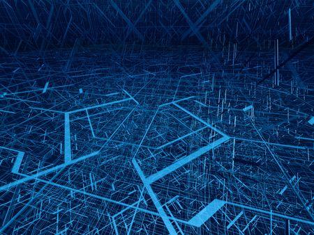 perspectiva lineal: Azul 3d estructura de alambre