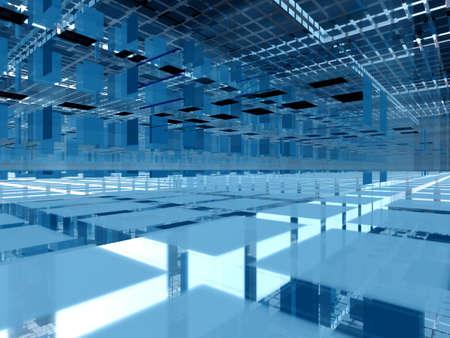 modernity: Abstract hi-tech transparent interior - infinite levels