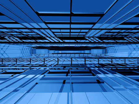 grating: Blue 3d spatial orthogonal grating structure in perspective