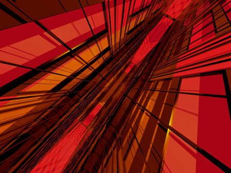 perspectiva lineal: Red estructura espacial en 3D en perspectiva din�mica  Foto de archivo