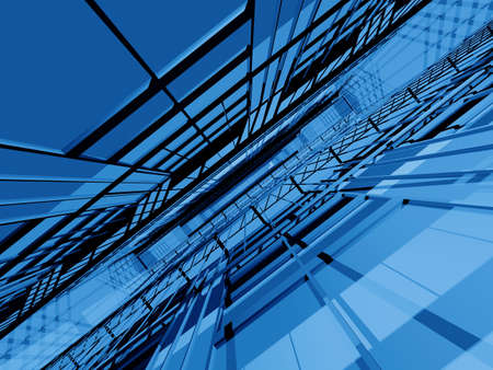 perspectiva lineal: Blue estructura espacial en 3D en perspectiva din�mica  Foto de archivo