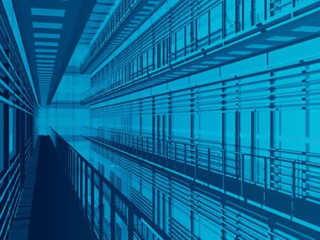 grate: Hi Tech 3d sfondo architettonico  Archivio Fotografico