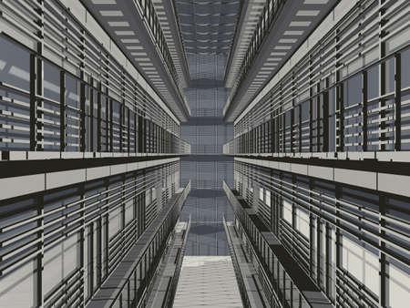 grate: Hi tech prospettiva architettonica 3d texture