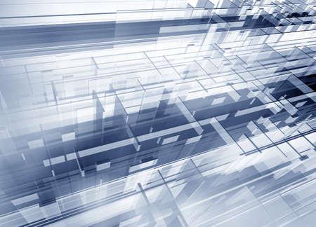 Metallic geometric modern 3d structure - digital artwork Stock Photo