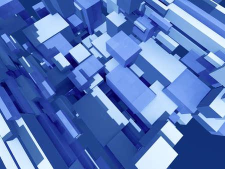 populated: Infinite random blue boxes - digital 3d artwork