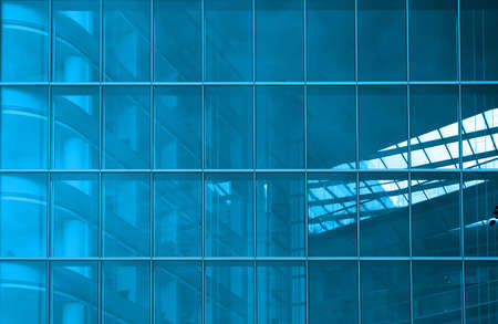 perpendicular: Contemporary office building blue glass wall detail