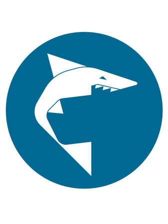 simplified: Simplified geometric shark icon in circle Illustration