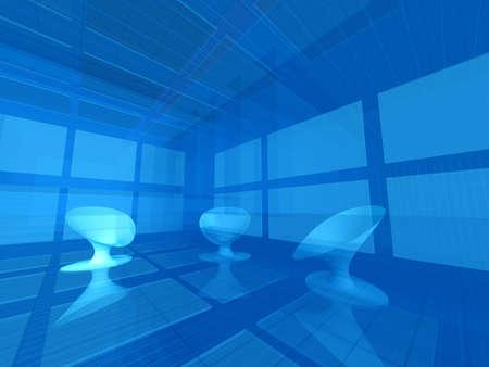 dimensions: Futuristic interior with 3 seats Stock Photo