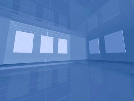 complementary: Blue interior space with blank frames