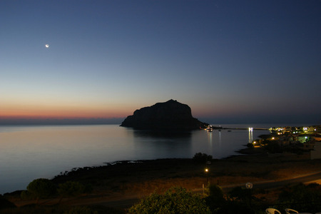 laconia: Greek town Monemvasia in Laconia south-eastern peloponnese  View on a small peninsula hosting a medieval town