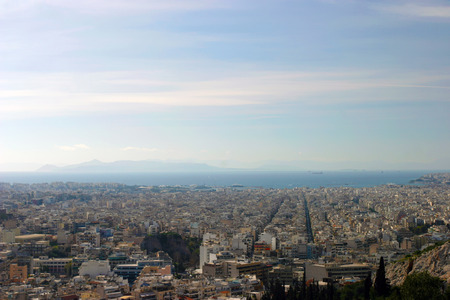 bird s eye view: Bird s eye view from the Mouseion Hill in Athens at the port of Piraeus