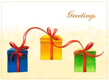 velvet ribbon: Gift boxes card. Hand drawn illustration