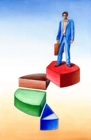 imperialism: Businessman standing on a 3D pie chart. Hand painted illustration.