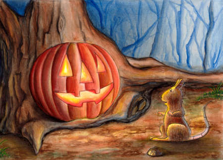 A mouse finds a Halloween pumpkin. Hand painted illustration. illustration