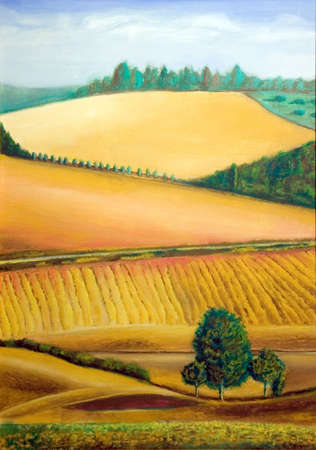 Picturesque farmland in Tuscany, Italy. Hand painted illustration. Stock Illustration - 830490