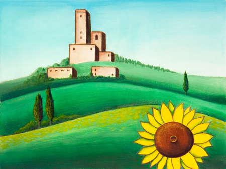 lanscape: Picturesque tuscan lanscape. Hand painted illustration.