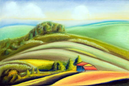 tuscany landscape: Tuscany landscape, Italy. Hand painted illustration. Stock Photo