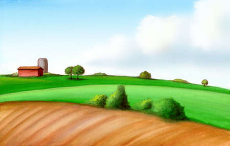 enhanced: Picturesque farmland in Italy. Hand painted illustration, digitally enhanced.