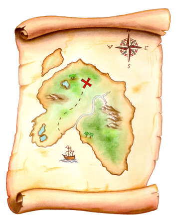 treasure map: Old map showing a treasure island. Hand painted illustration.