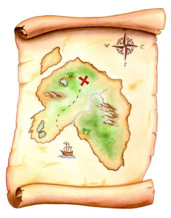 isla del tesoro: Viejo mapa que demuestra una isla del tesoro. Ilustraci�n pintada mano. Foto de archivo