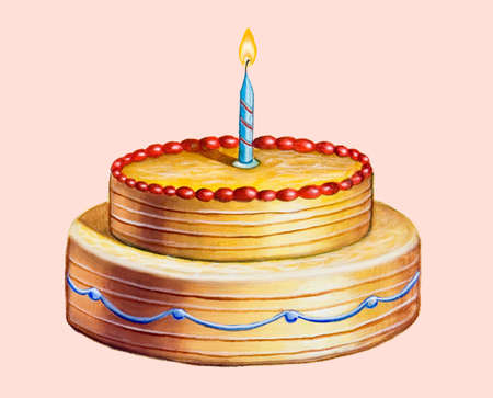 bash: Birthday cake. Hand drawn illustration. Stock Photo