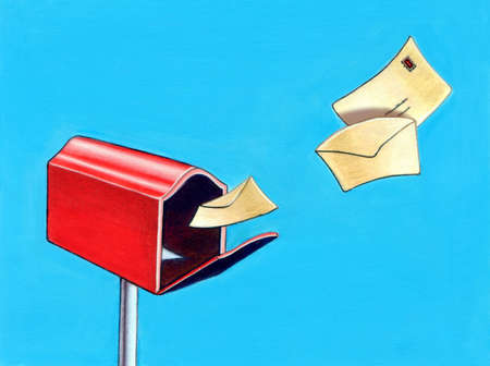 Letters flying to a mail box. Hand painted illustration. illustration